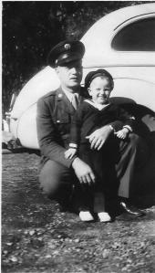 Hayes on leave with son Butch, 1945, low res